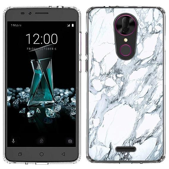 hot sales 49dcc f5e47 Tmobile Revvl Plus Case [White Marble](Clear) PaletteShield Flexible Slim  TPU skin phone cover (fit Tmobile Revvl Plus)
