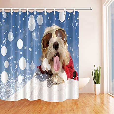KOTOM Christmas Shower Curtains For Bathroom, Funny Dog With Glasses And  Stretched Out Tongue Lying