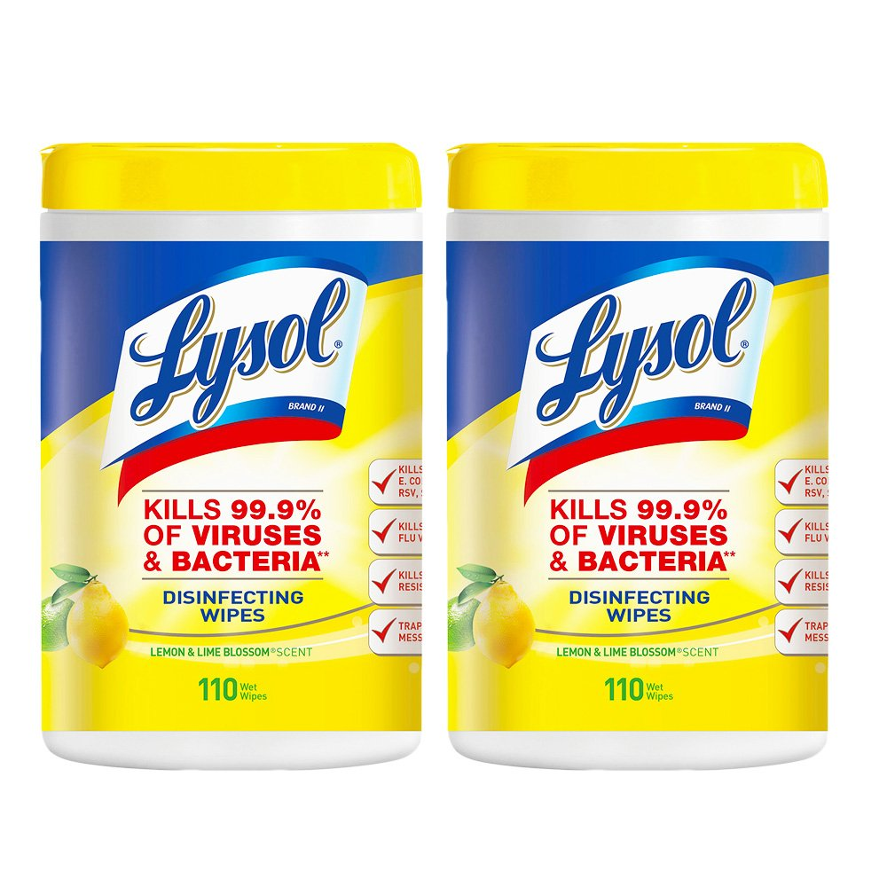 Lysol Disinfecting Wipes - Lemon & Lime Blossom 110 ct (Pack of 2)