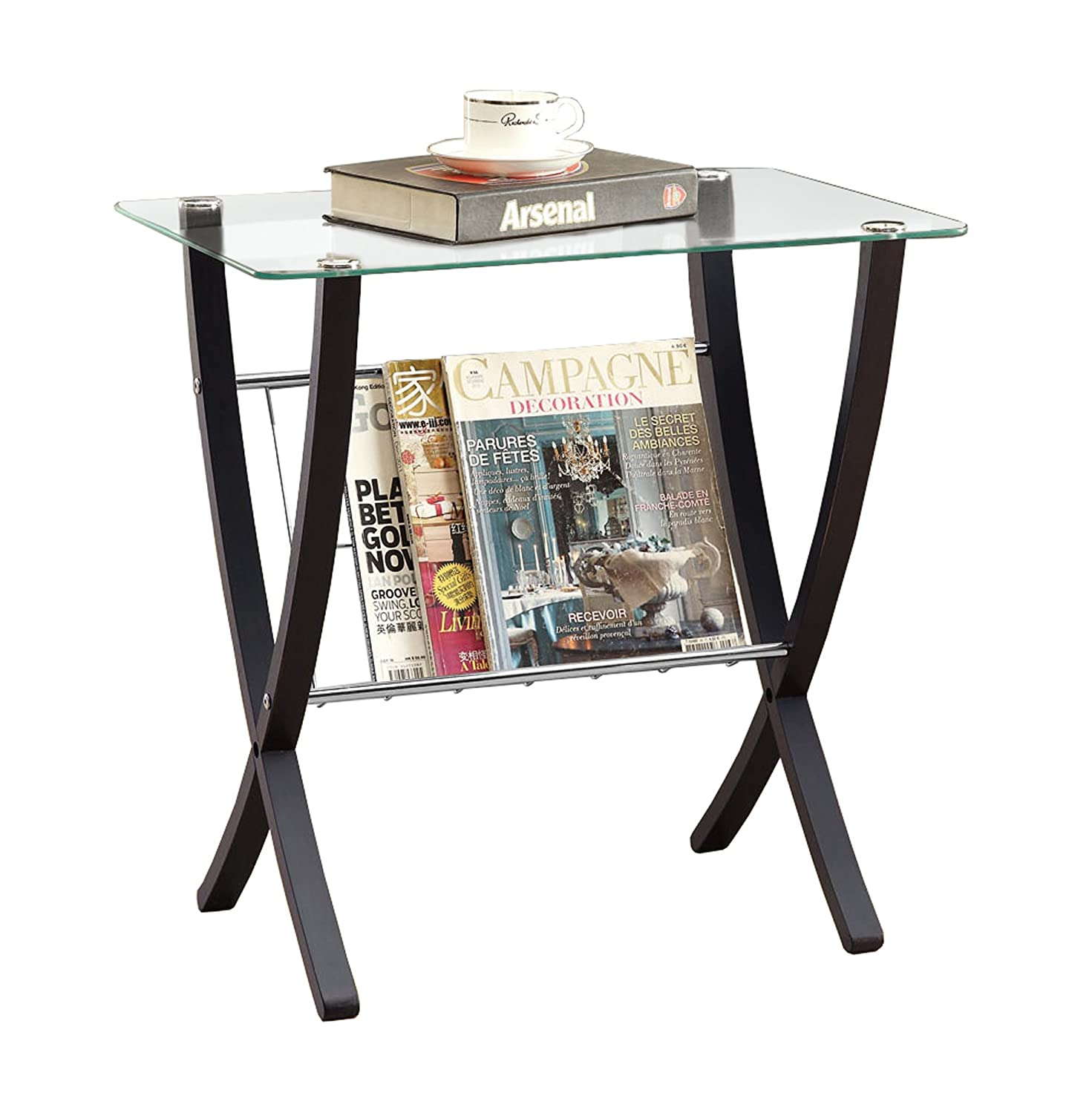 Monarch Specialties I I 3021 Bentwood Magazine Table with Tempered Glass, Cappuccino