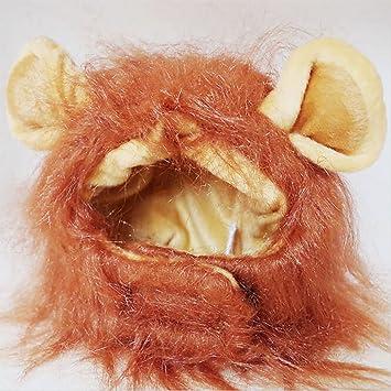 owikar mascota gato León Mane peluca disfraz sombrero cabeza capucha cute ajustable lavable cómodo León Hair