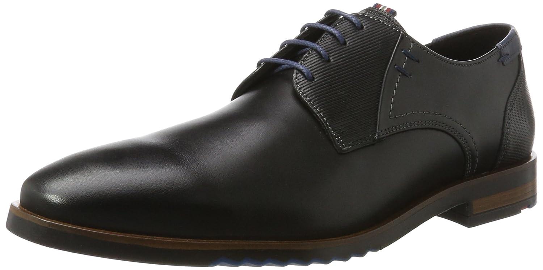 LLOYD Herrenschuh DENO, moderner Schwarz Casual-Halbschuh aus Leder mit Gummisohle Schwarz moderner (Schwarz/Blau) 9952a0