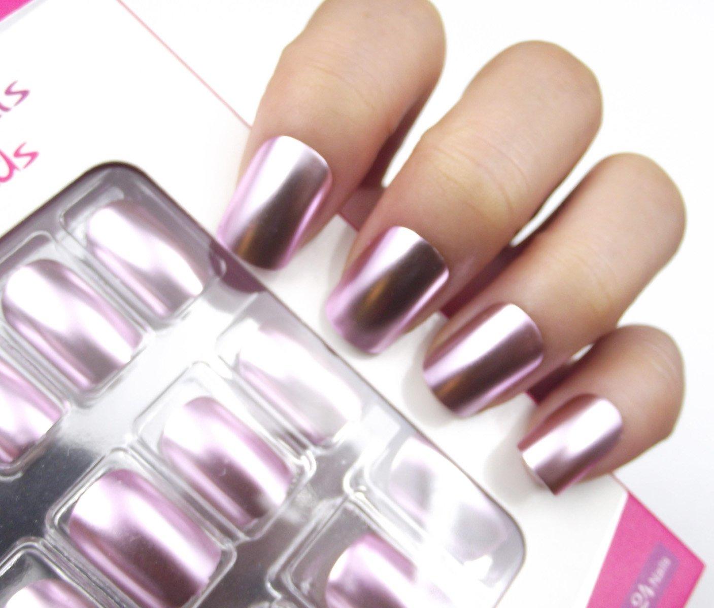 YUNAI Cuadrado Uñas postizas Elegante Efecto espejo Luz púrpura Uñas falsas Paquete Premium Cobertura total Medio Uñas postizas: Amazon.es: Belleza