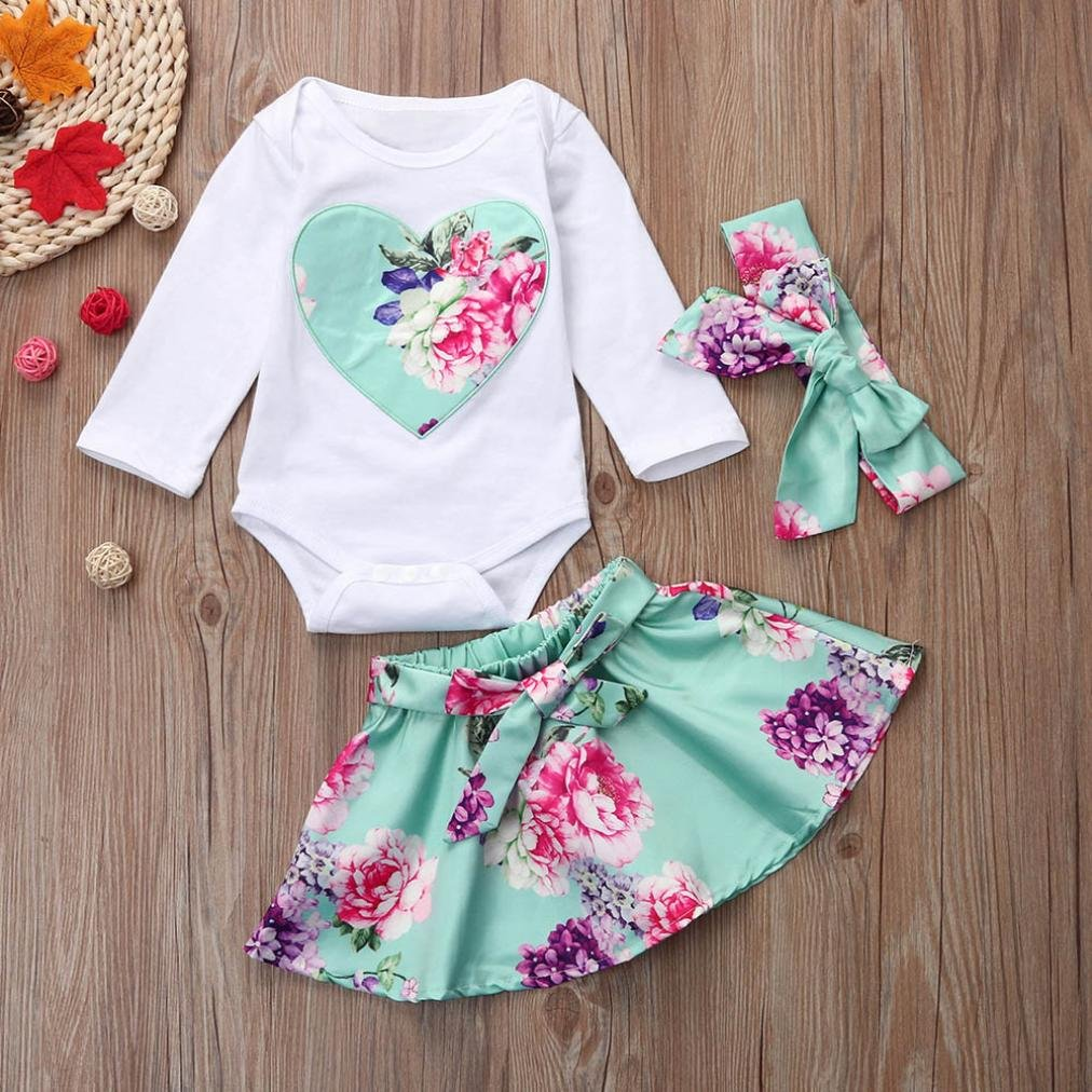 KONFA Toddler Baby Girls Romper+Skirt+Headband,Suitable for 0-18 Months,Little Princess 3Pcs Floral Outfits Clothes Sets
