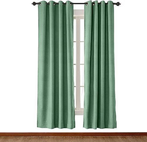 120″ W x 102″ L Mint Faux Linen Textured Curtain Antique Bronze Grommet Drapes 1 Panels ChadMade