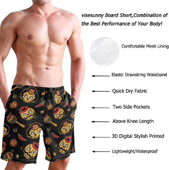 FullBo Mens Swim Trunks Print Mens Gifts Team Logo mesh Quick Dry Board Shorts