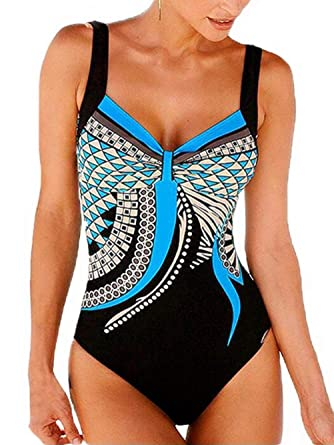 117687f922 Kaei&Shi Scoopback Print Swimsuits for Women Retro Swimwear Vintage One- Piece Bathing Swimming Suit at Amazon Women's Clothing store: