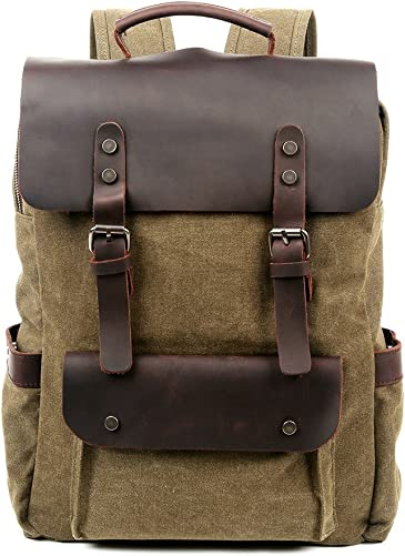 Travel Log City Backpack Genuine Canvas and Leather Bag Olive