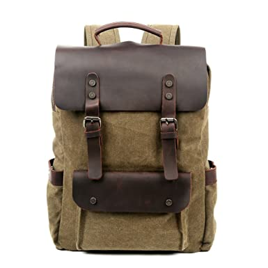 75f8758b6e Travel Log City Backpack Genuine Canvas and Leather Bag (Olive)