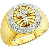 0.30 Carat (ctw) 10k Yellow Gold White Diamond Men's Hip Hop Micro Pave Cross Band Ring Size 11.5
