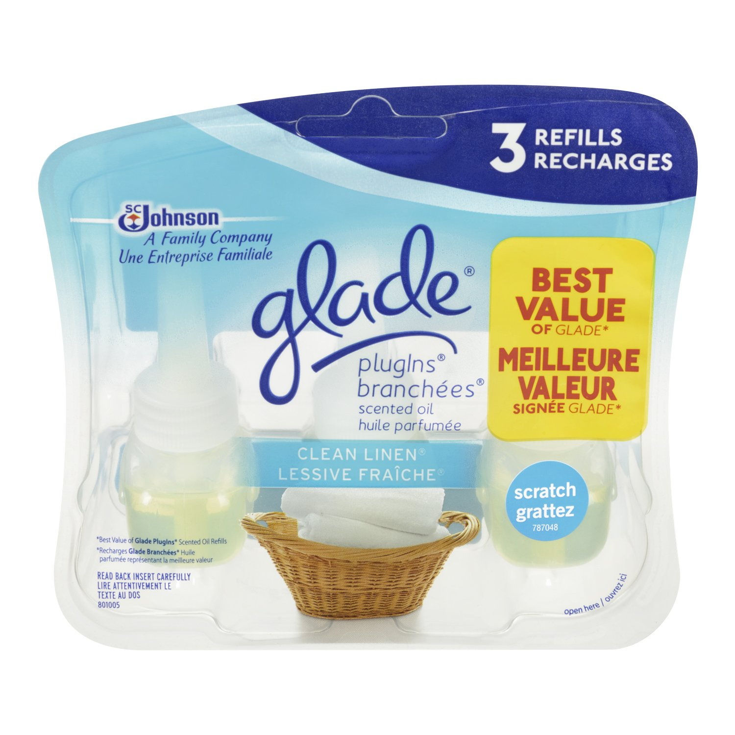 Glade Plugins Scented Oil 3-Pack Refill VP, Clean Linen