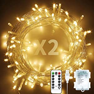 Baimo 2 Pack 33ft 100 LED Battery Operated String Lights with USB Cable, 8 Modes Waterproof Remote Timer Fairy Lights Indoor Outdoor for Christmas, Garden, Party (Warm White)