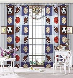 Elegant Home Design Multicolors Football Soccer Basketabll Baseball Sports Design Boys/Kids Room Window Curtain Treatment Drapes 2 Piece Set with Grommets (Sports Light Blue)