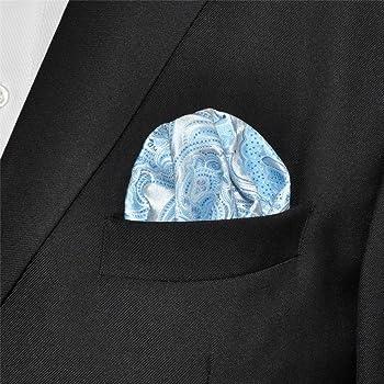 Shlax&Wing único Hombre Traje De Negocios Seda Pañuelo De Bolsillo Para Azul Geométrico Floral 32cm