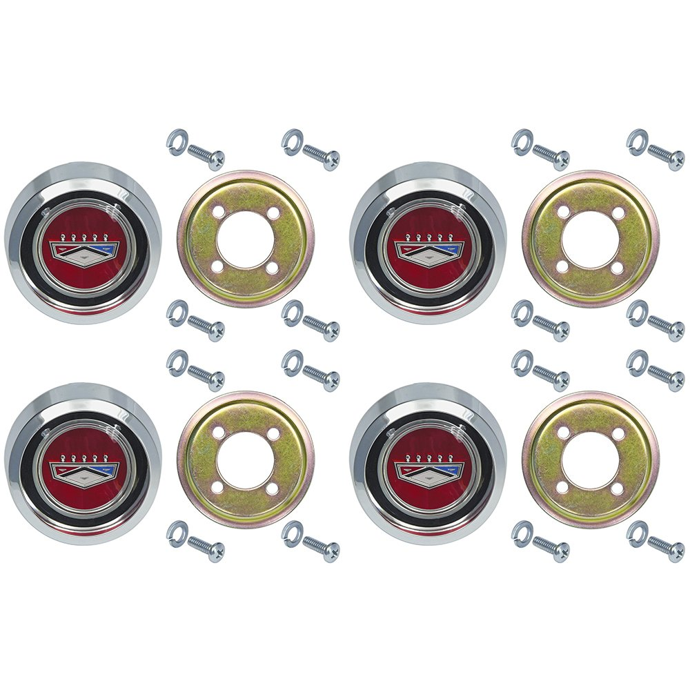 New Magnum 500 Red Wheel Center Caps for Ford Galaxie Fairlane Falcon Torino Falcon Monterey (EBC9OZ-1130RDST)