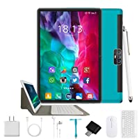 Tablet 10.1 Inch Android 9.0, 2 in1Tablet PC with Wireless Keyboard Mouse& Tablets Case, 4GB RAM +64GB ROM/128GB Computer Tablets, 8MP Quad Core/Dual Sim/8000 mAh,Support 3G/4G Phone Call (Green)