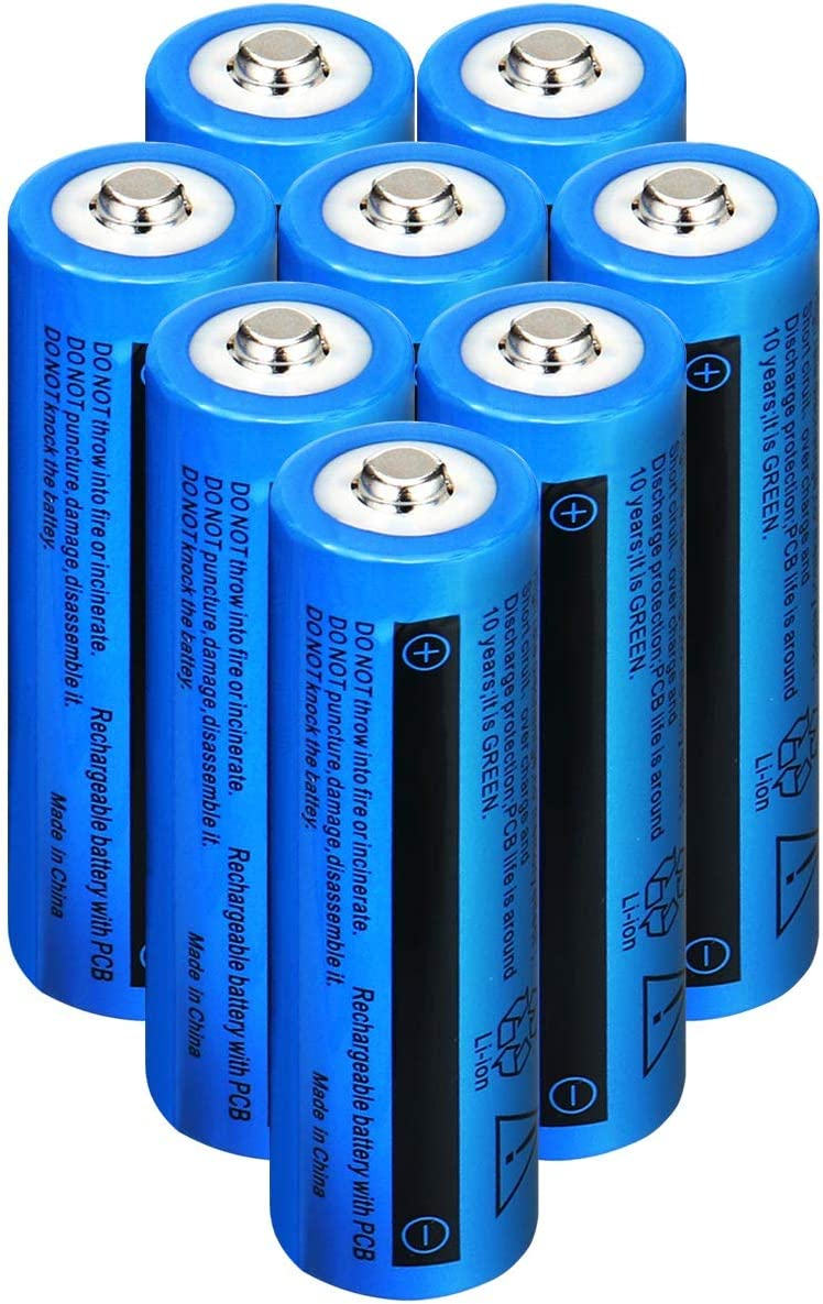 8 Pcs Rechargeable Battery 9900mAh-3.7V-Li-ion Button Top Battery for 18650 Flashlight Headlamp doorbell Electronic Tools etc.
