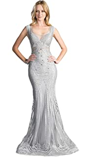 b22bb3c185a Cinderella Divine - CE0010 Bead Embellished Fitted Mermaid Evening Dress