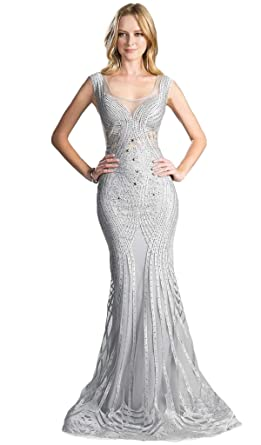 2060150dded Cinderella Divine CE0010 Bead Embellished Fitted Mermaid Evening Dress in  Silver