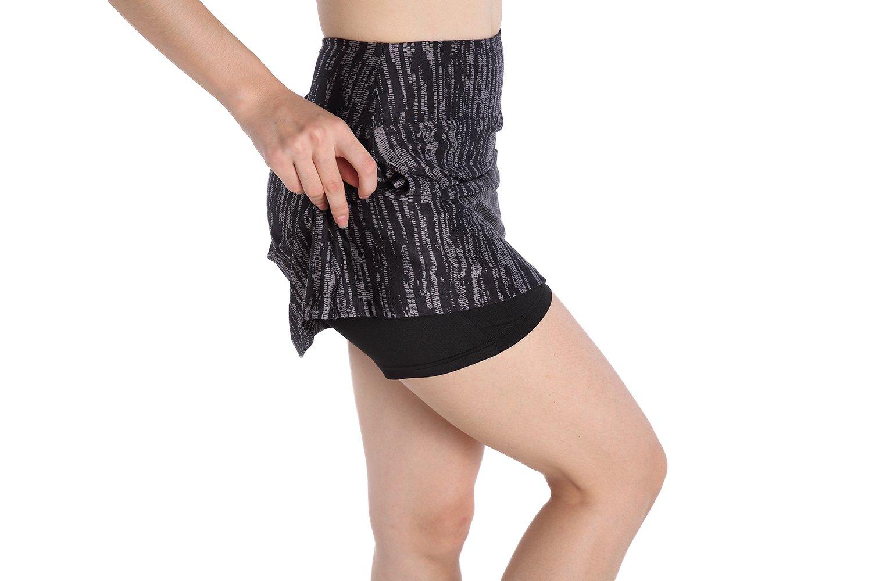 EAST HONG Women's Running Skirt Workout Tennis Golf Skort (XL, Black (Printing)) by EAST HONG