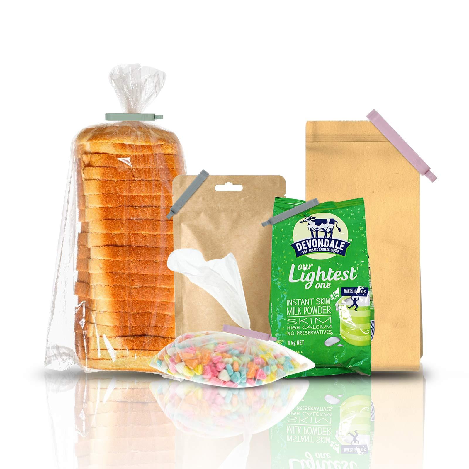 Matogle 48 Stücken Verschlussklammern Verschlussclips Beutelverschluß Klemmen Verschluss für Lebensmittel und Snacks, aus Kunststoff und luftdicht, in 3 Größen(Grün, Grau, Pink)