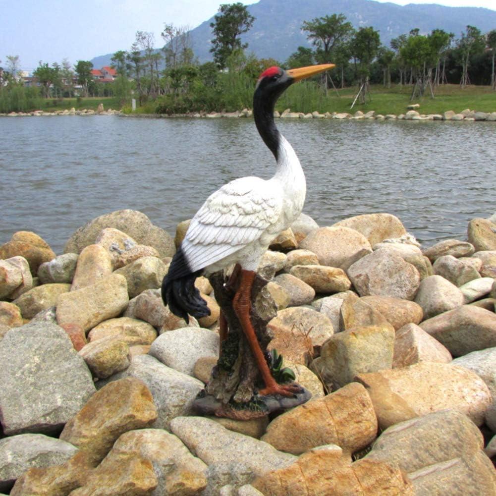 Yangyang Grulla de Corona Roja Adornos Escultura Jardín al Aire Libre Resina Estatua Pájaro Modelo para la Decoración del Hogar Colección 22 x 11 x 33 CM