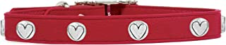 product image for Rockin Doggie Heart Rivets Leather Dog Collar, 1/2 by 8-Inch, Red