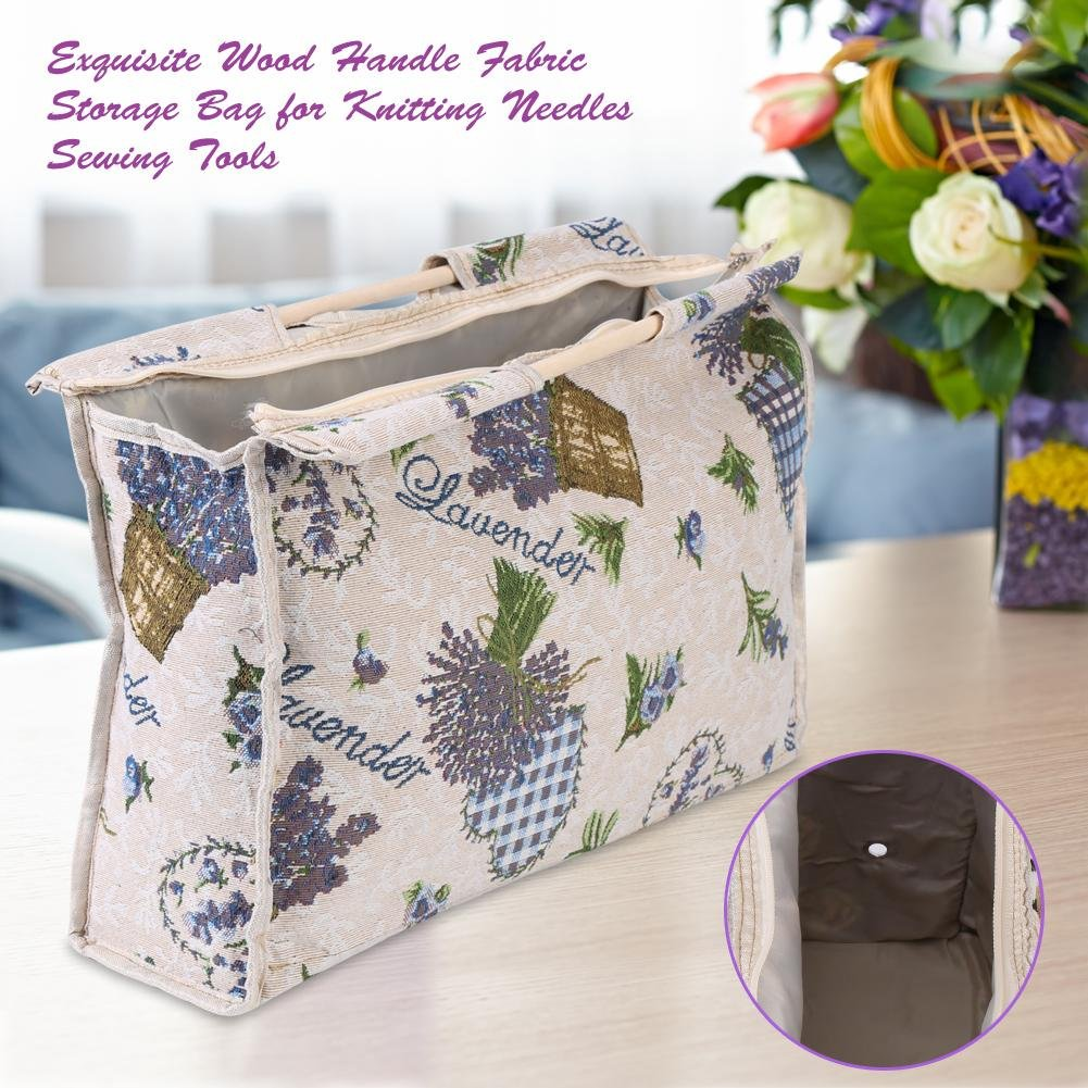 1pc Exquisite Practical Wood Handle Woven Fabric Storage Bag for Knitting Needles Sewing Tools(Rose) Walfront