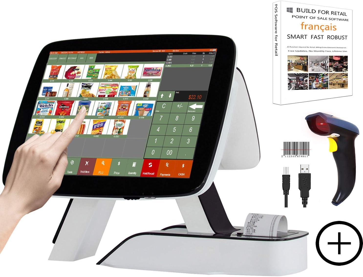 ZHONGJI Todo en un punto de venta, sistema de caja grabadora doble pantalla ordenador, para la venta al por menor de restaurantes de negocios, color MS900 caisse enregistreuse: Amazon.es: Oficina y papelería