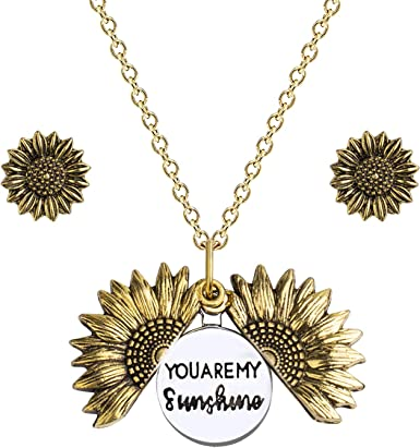 SOULSIS Sunflower Necklace Gift You are My Sunshine Hidden Message Engraved Inspirational Pendant Gold Memorial Sunflower Locket Necklaces for Her