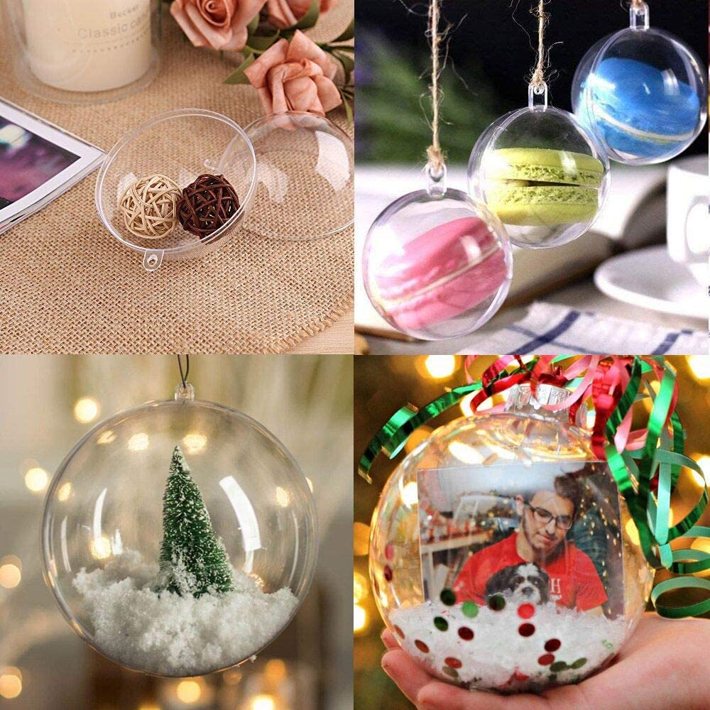 20 Pack Clear Plastic Fillable Ornament Ball 3.15''/80mm for Christmas,Holiday, Wedding,Party,Home Decor