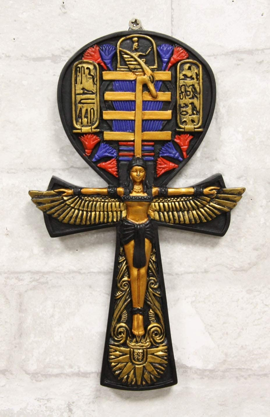 Ebros Crux Ansata Egyptian Ankh Of Isis With Open Wings And Cartouche Hieroglyphs Wall Decor Accent 3D Plaque Figurine 7.5