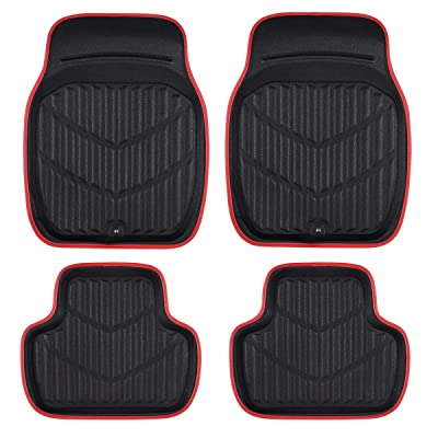 CAR PASS Universal Fit PVC Leather Car Floor Mats, Anti-Slip for Suvs,Vans,Trucks,Pack of 4 (Black with Red, Medium Size): Automotive