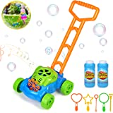 kolegend Bubble Machine Mower for Kids - Automatic Bubble Lawn Machine with Music Sounds for Toddlers Plus 4 x Bottles of Solution and 6PCS Bubble Wands Set for Boys & Girls