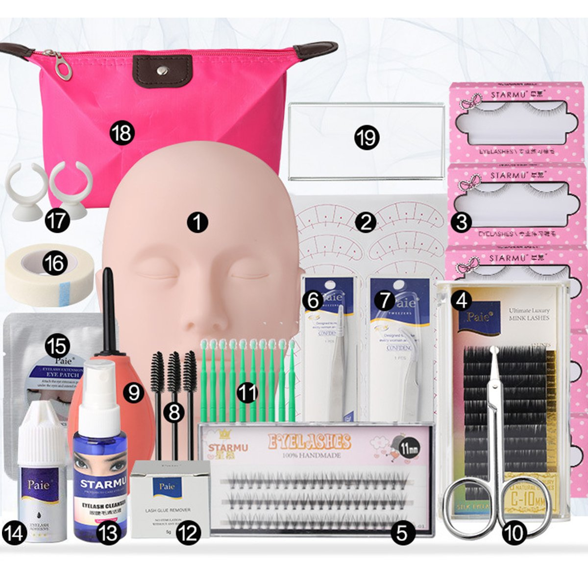 19pcs Eyelash Extension Kits,Professional Mannequin Head Training Eyelashes Extensions Practice Cosmetology Esthetician Supplies with Eye Lashes Glue Tweezers Tools sets for Makeup Practice Eye Lashes