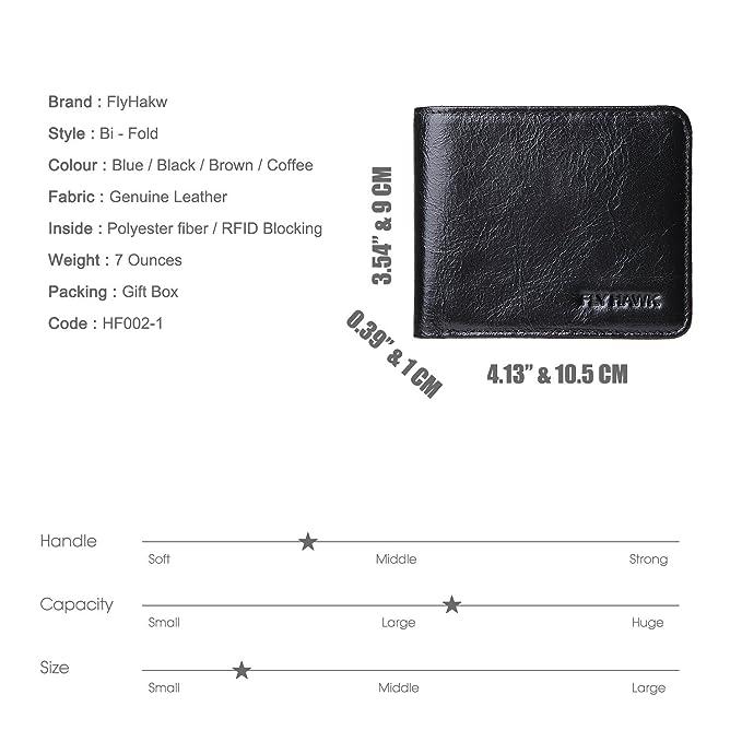 amazon com flyhawk rfid blocking genuine leather wallets mens