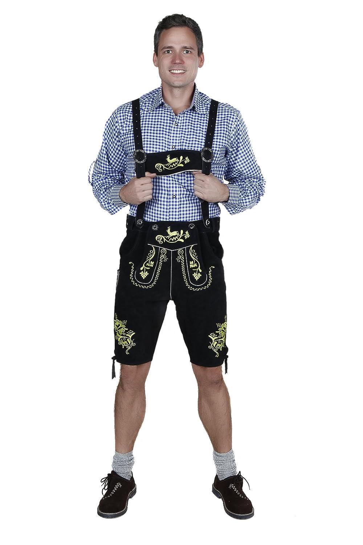 Schicke Herren Trachten-Lederhose kurz aus feinem Rindsvelourleder mit aufwendiger Stickerei, Schwarz / Traditionell / Oktoberfest / Wiesn / 100% Leder