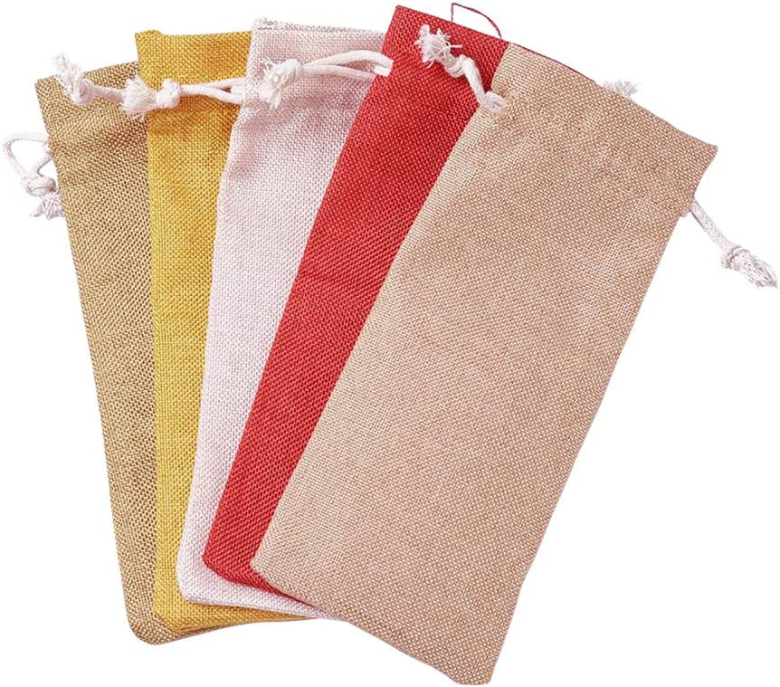 19x8 cm Bolsas de Tela de Arpillera de 30 Pieza con Cord/ón para Embalaje de Regalo de Vino Color Mezclado NBEADS Bolsas de Champ/án de Tela