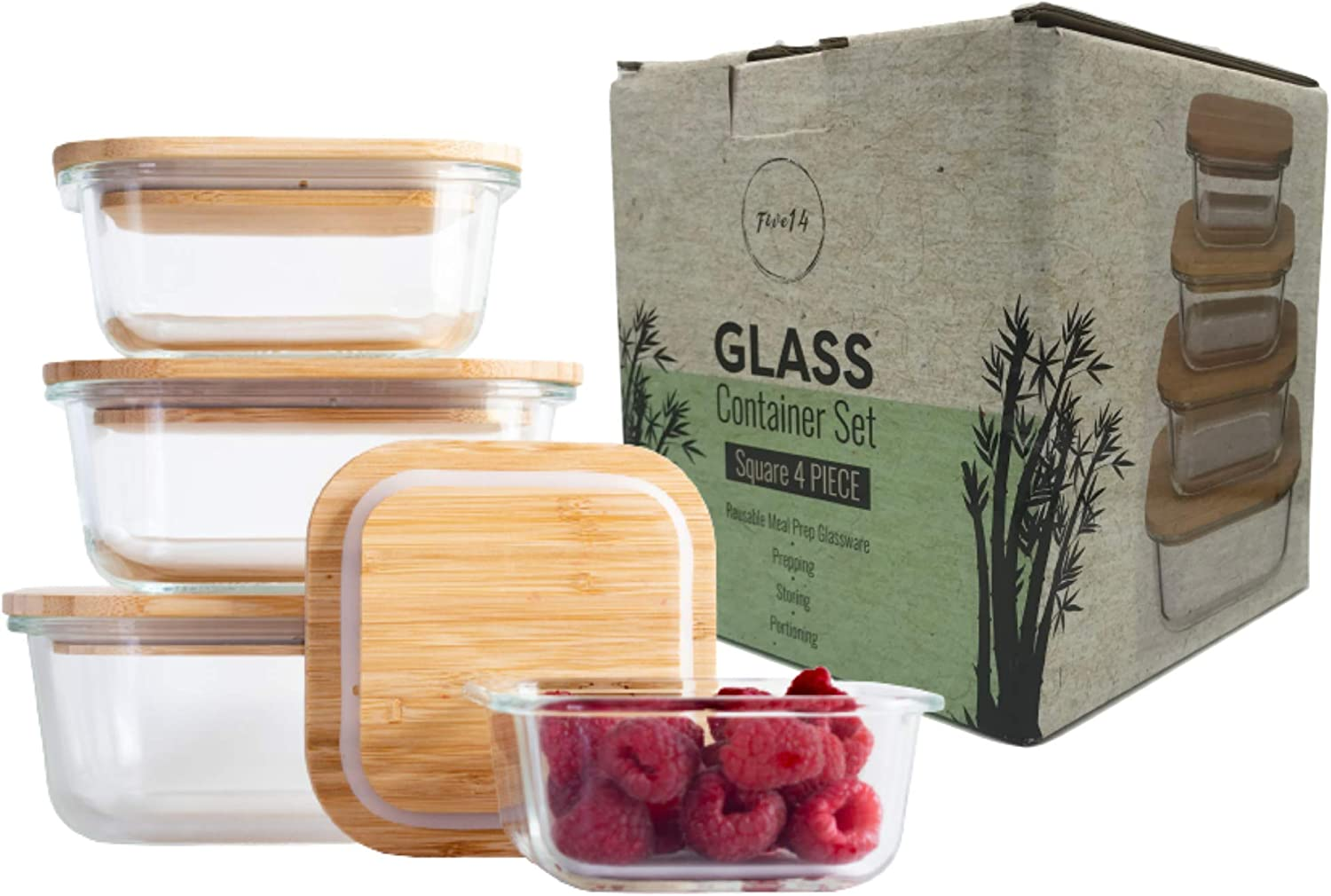 Five14 4-Pc Glass Containers with Bamboo Lids, Kitchen Storage Pantry Storage Food Prep Containers, Food Storage Container with Lids, Fridge Containers, Glass Meal Prep, Airtight Lids