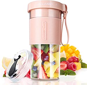 Portable Blender, BELANKO Personal Size Blender for Juice, Shakes and Smoothies, Food Grade Juicer Travel Blender Cup 320/600 ML 60W with USB Rechargeable for Home, Sport, Office, Outdoors - Pink