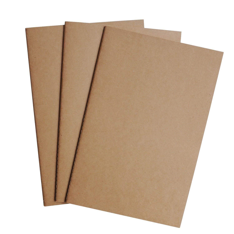 Custodia con cerniera e supporto per carta, confezione da 2 per notebook da viaggio ricaricabile, diario, diari e quaderni - formato standard | 8,25 x 4,25 pollici (21 x 11 cm) Wanderings