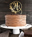 Topper Single Initial Cake Toppers, Gold Letter H Cake,Wedding Gold Cake Decoration Favors Cake Decorating Party…