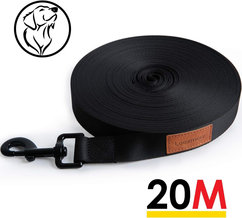 Looxmeer Correa Retráctil para Perros de 20 m de Largo, Cuerda para Perros Manos Libres, Correa Fuerte para Todos Los Perros Pequeños, Medianos y Grandes, Negro