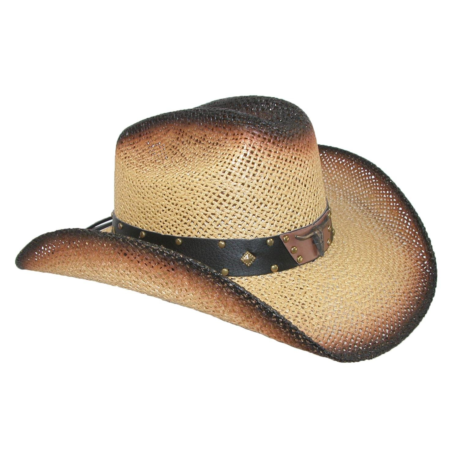 Wild Bill Hats Men s Straw Long Horn Western Cowboy Hat Beige at Amazon  Men s Clothing store  be6f0f46fa2