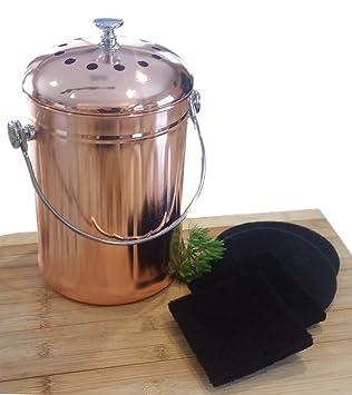 Elegant Compost Pail Bin Bucket For Indoor Kitchen Countertop   Copper Coated  Stainless Steel 1 Gallon