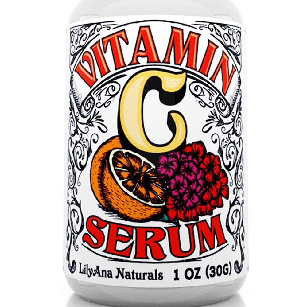 Vitamin C Serum with Hyaluronic Acid for Face and Eyes - Organic Skin Care with Natural Ingredients for Acne, Anti Wrinkle, Anti Aging, Fades Age Spots and Sun Damage - 1 OZ by LilyAna Naturals