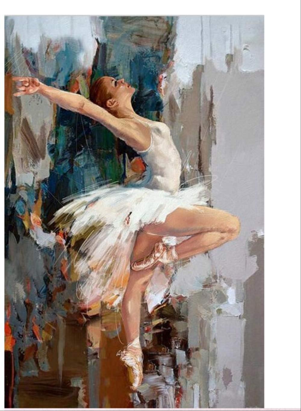 RUIYAN Cuadro En Lienzo Bailarina Bailarina Pintura Al Óleo Famoso Pintor Mahanur Pintura Abstracta Ballet Chica Mural Mm34A 40X60Cm Sin Marco