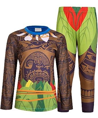 09bea397789a0 AmzBarley 2pcs Moana Maui Garçons Pyjamas Pyjama PJS Manches  Courtes Longues Pyjamas Top avec des