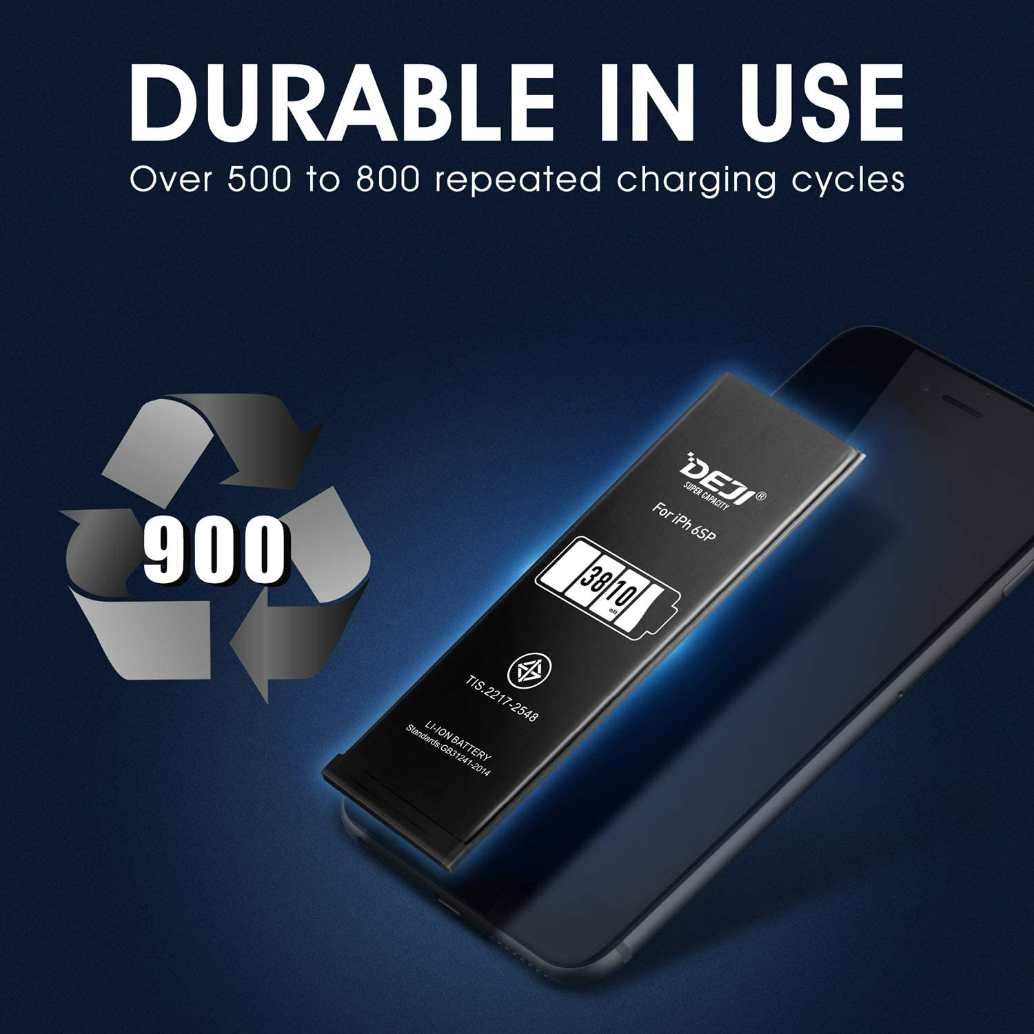 DEJI 3810mAh Battery for iPhone 6S Plus New Super High Capacity Replacement Battery for iPhone 6S Plus with Complete Repair Tools Kit Adhesive and Instructions