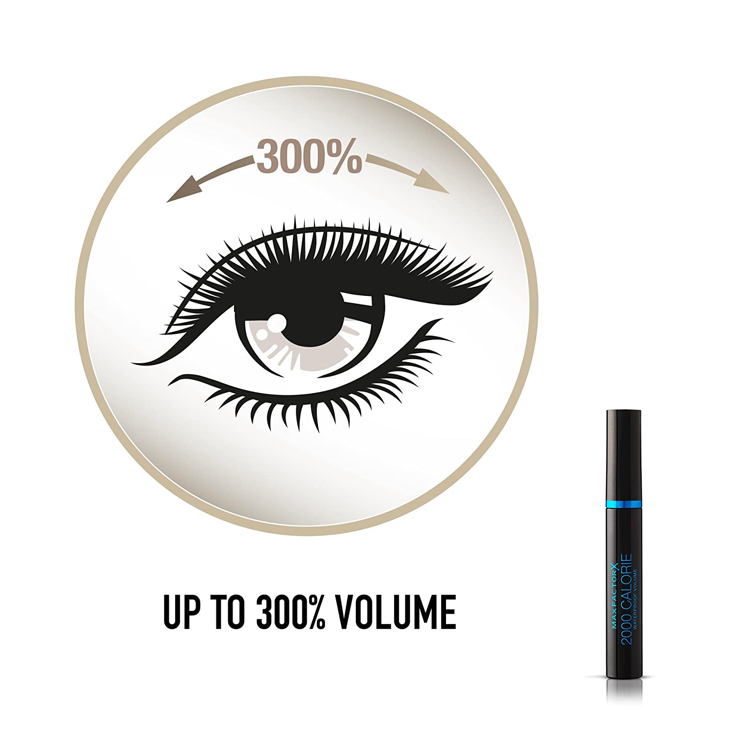 6696bee187a Max Factor 2000 Calorie Waterproof Volume Mascara, Smudge Proof, Black, 9  ml: Amazon.co.uk: Beauty